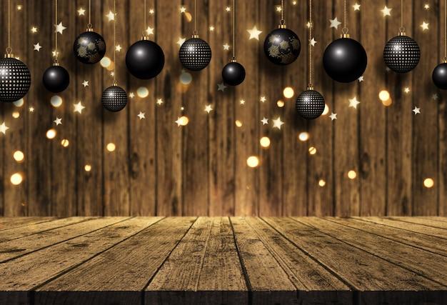 Boules de noël suspendus 3d sur une table en bois et fond en bois Photo gratuit