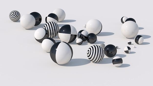 Boules Rayées Noires Et Blanches. Illustration Abstraite, Rendu 3d. Photo Premium