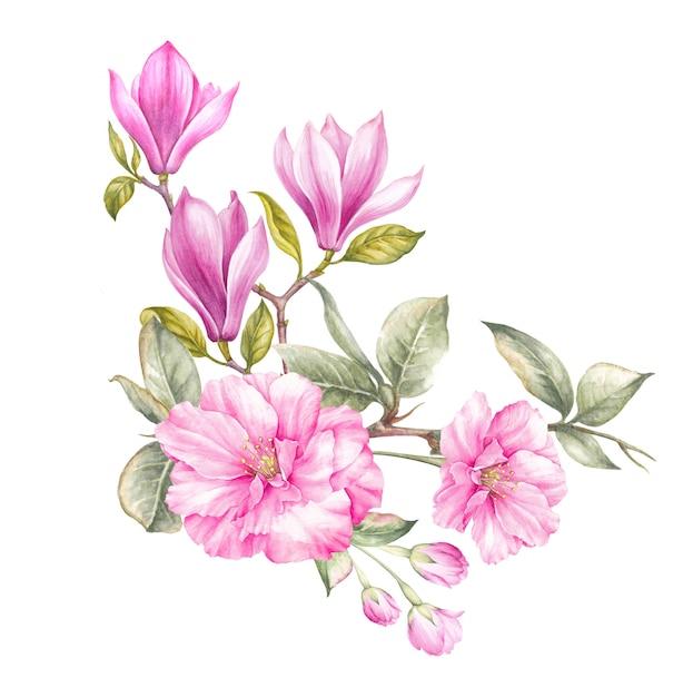 Bouquet d'aquarelle de magnolia, isolé Photo Premium