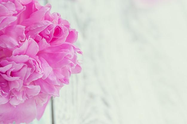 Bouquet de belles pivoines rose pâle dans un vase blanc sur fond de tableau blanc. Photo Premium