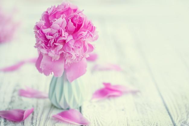 Bouquet de belles pivoines rose pâle dans un vase sur fond de tableau blanc. Photo Premium
