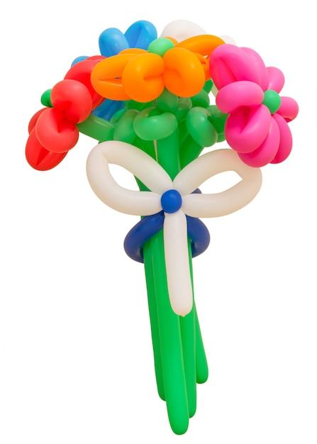 Bouquet coloré de ballons isolé sur blanc Photo Premium