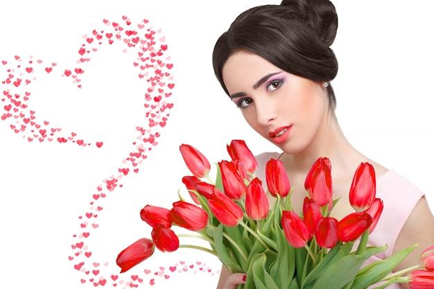 Bouquet de femme avec tulipe Photo Premium