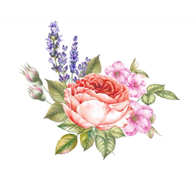 Bouquet génial dans le style vintage d'aquarelle pour la conception de votre invitation. Photo Premium