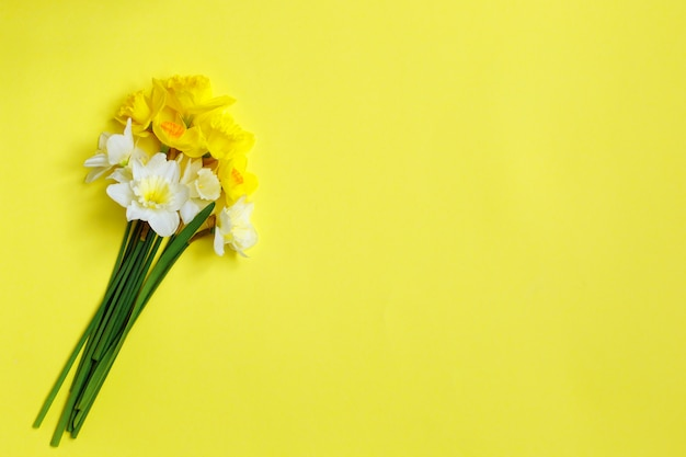 Bouquet de jonquilles sur fond jaune Photo Premium