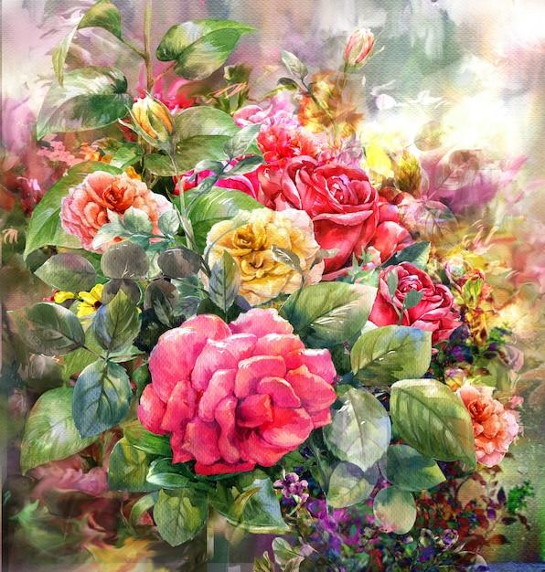 Bouquet de style aquarelle rose.peinture numérique Photo Premium