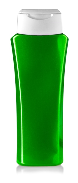 Bouteille de gel douche vert isolé sur blanc Photo Premium