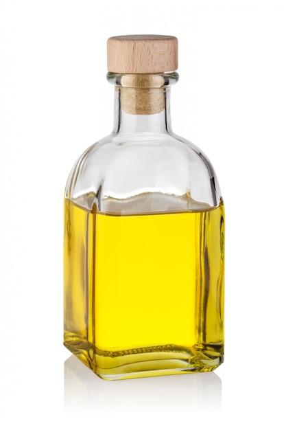 Bouteille D'huile Jaune Avec Du Liège En Bois Photo Premium
