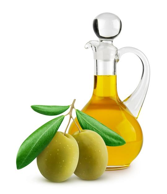 Bouteille D'huile D'olive Extra Vierge Et D'olives Vertes Sur Une Surface Blanche Photo Premium