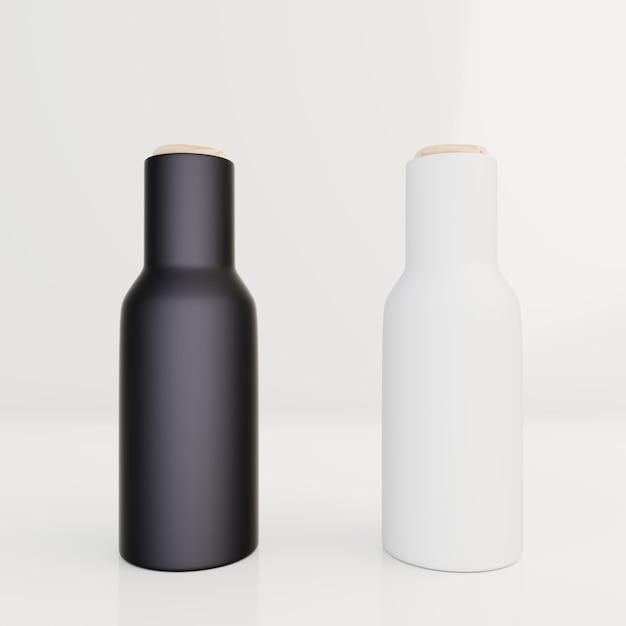 Bouteille Noire Pour Emballage à La Crème, Lotion Sur Fond Blanc Photo Premium
