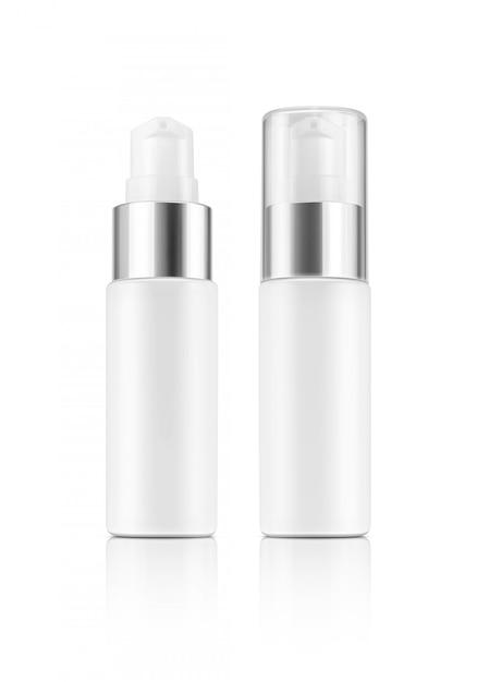 Bouteille de sérum en plastique blanc emballage vide isolé sur fond blanc Photo Premium