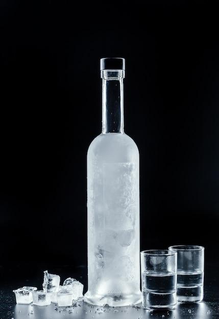 Bouteille de vodka froide dans l'obscurité Photo Premium