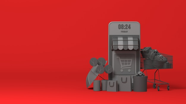 Boutique E-commerce En Ligne 3d Black Photo Premium
