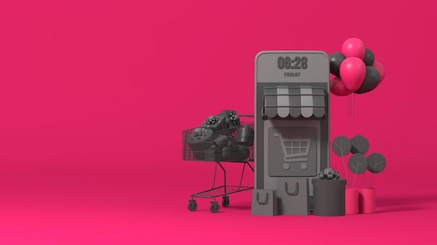Boutique E-commerce En Ligne 3d Photo Premium