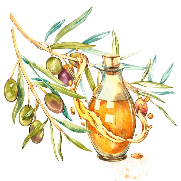 Une Branche D'olives Vertes Mûres Est Juteuse Avec De L'huile. Gouttes Et éclaboussures D'huile D'olive. Illustration Aquarelle Et Botanique Photo Premium