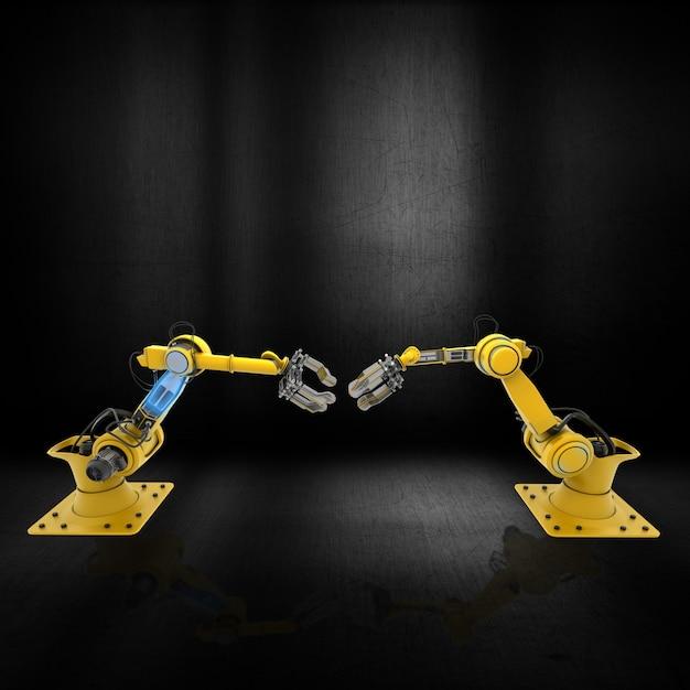 Bras de robot 3d sur une surface métallique grunge Photo gratuit