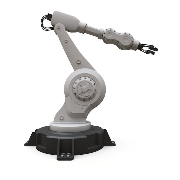Bras robotique pour tout travail dans une usine ou une production. equipement mécatronique pour des tâches complexes. rendu 3d. Photo Premium