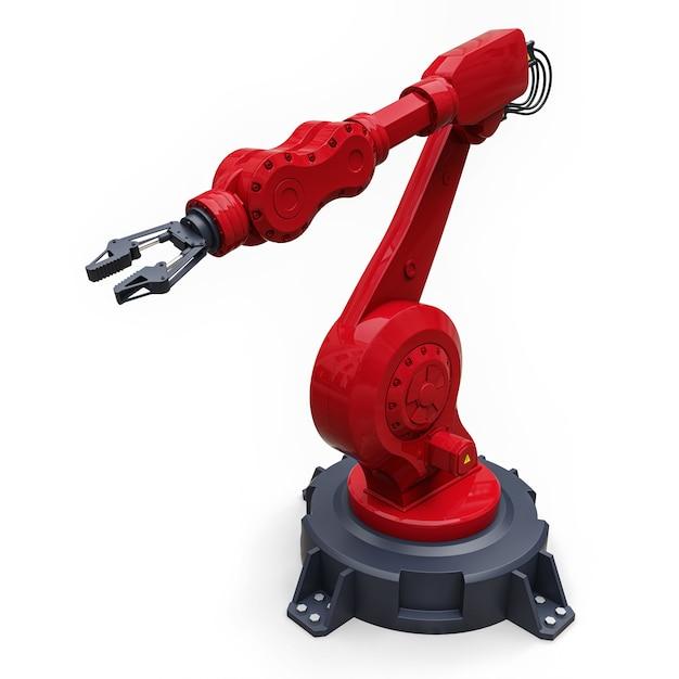 Bras rouge robotisé pour tout travail dans une usine ou une production. equipement mécatronique pour des tâches complexes. illustration 3d Photo Premium