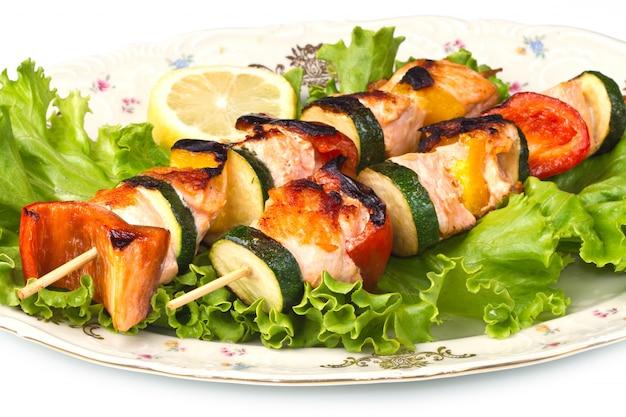 Brochette de saumon Photo Premium