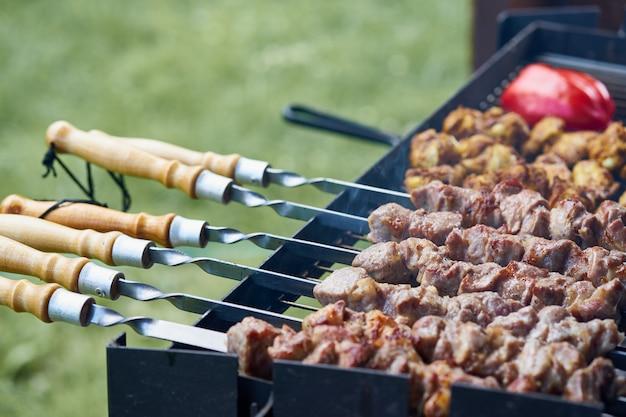 Brochettes de shashlik au barbecue avec ailettes et tomates au grill demi-fini sur la brochette, vue de côté Photo Premium