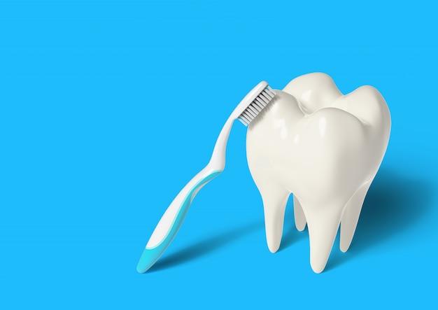 Brosse à Dents De Rendu 3d Nettoyage Des Dents Photo Premium