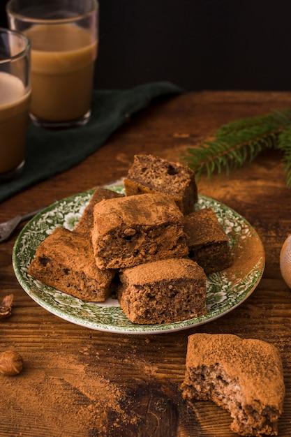 Brownies Au Chocolat Sur La Plaque Se Bouchent Photo gratuit