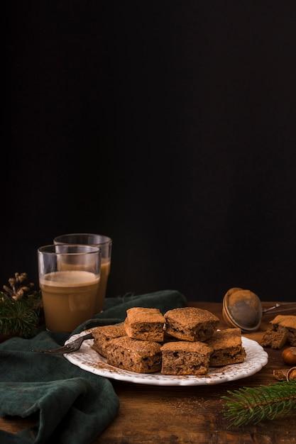 Brownies Au Chocolat Sucré Avec Espace Copie Photo gratuit