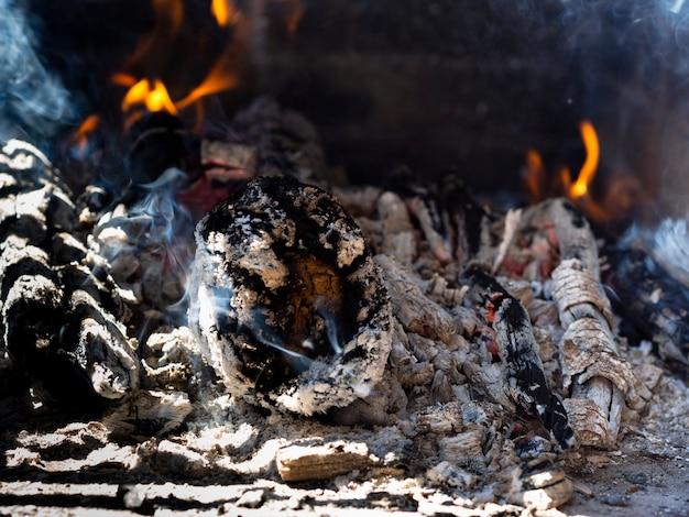 Brûler Des Bûches Sur Le Site D'un Feu De Camp Photo gratuit