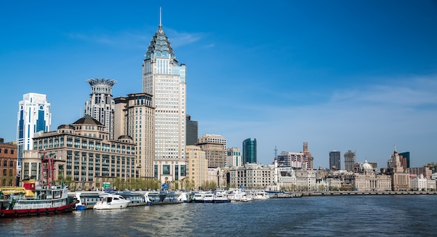 Le Bund, Shanghai Vu De La Rivière Photo Premium