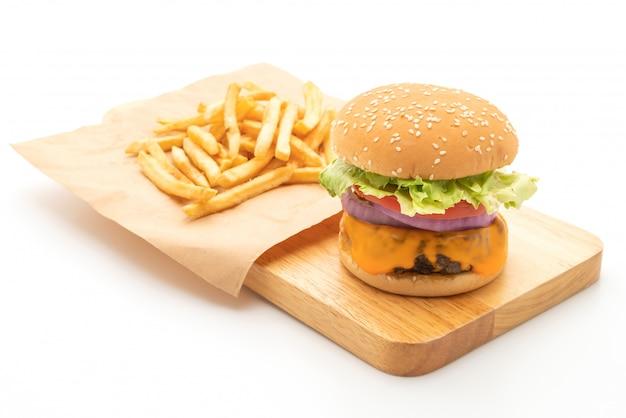 Burger de bœuf frais avec du fromage Photo Premium