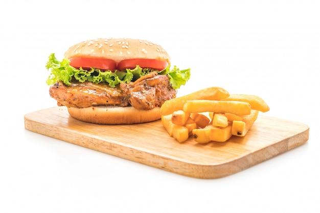 Burger de poulet grillé Photo Premium