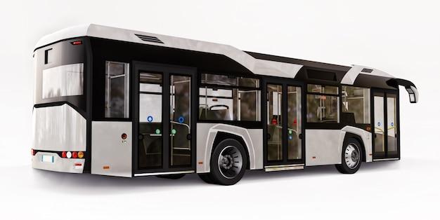 Bus Blanc Urbain Mediun Sur Un Espace Isolé Blanc. Rendu 3d. Photo Premium