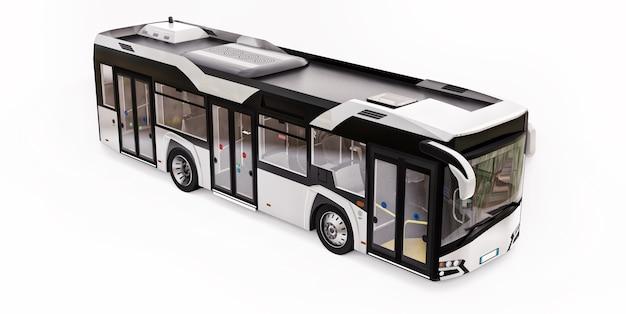 Bus Blanc Urbain Mediun Sur Fond Blanc Isolé. Rendu 3d. Photo Premium
