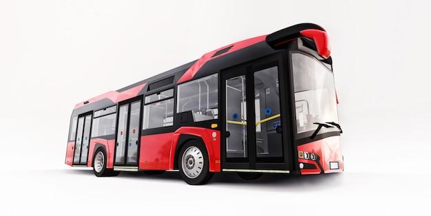 Bus Rouge Urbain Mediun Sur Un Espace Isolé Blanc. Rendu 3d. Photo Premium