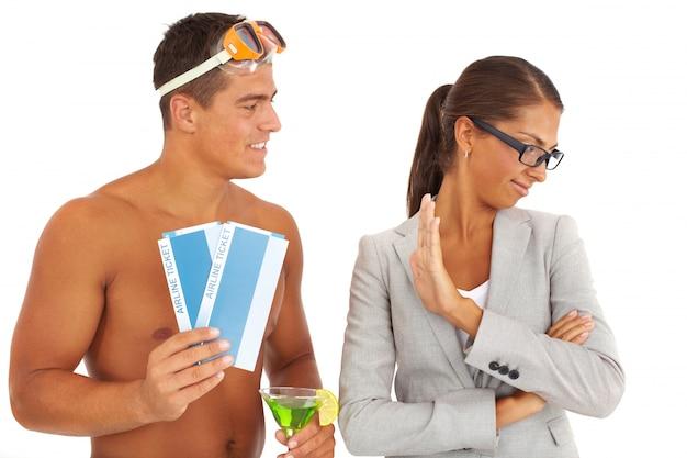 Businesswoman rejetant un voyage Photo gratuit
