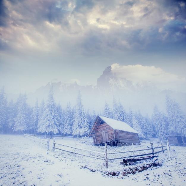 Cabane à la montagne en hiver Photo Premium