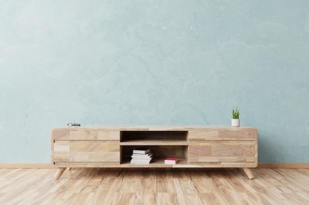 Cabinet dans une salle vide moderne, mur bleu. Photo Premium