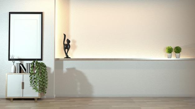 Cabinet dans le salon zen moderne avec une décoration de style zen sur la lumière cachée de conception de mur blanc. Photo Premium