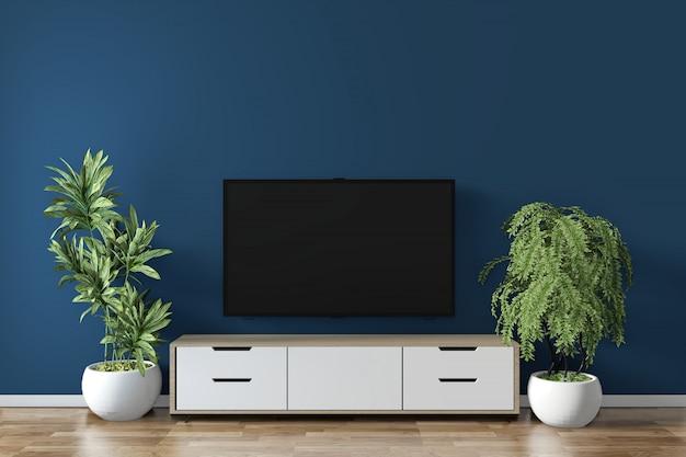 Cabinet maquette sur bleu foncé sur la conception minimale en bois de plancher. rendu 3d Photo Premium