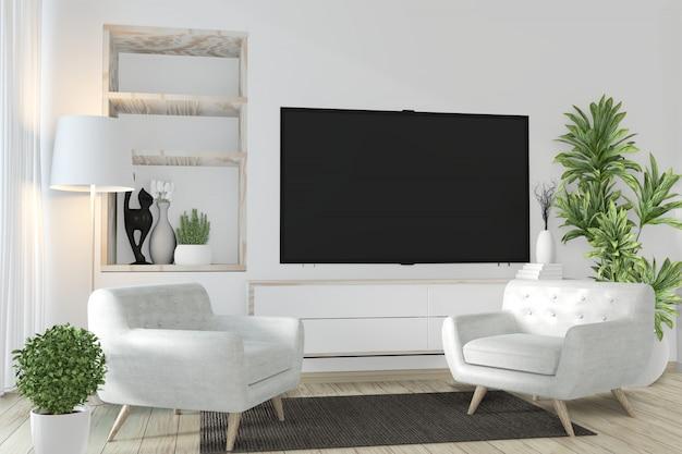 Cabinet et smart tv sur un mur avec une décoration zen ...
