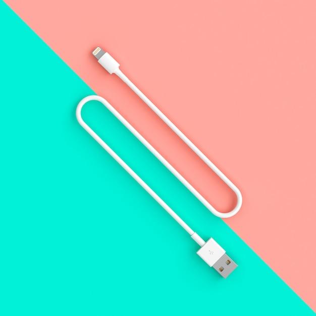 Câble Usb Blanc Sur Deux Couleurs Photo Premium