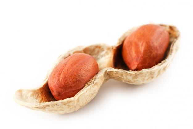 Cacahuètes sur un épi épluché, deux grains isolés sur fond blanc Photo Premium