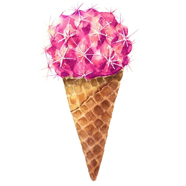 Cactus sweet yummy aquarelle. ice cream pink fresh diet bio Photo Premium
