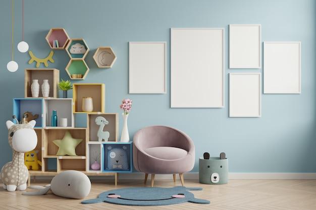 Cadre D'affiche Dans La Chambre D'enfants, Chambre D'enfants, Maquette De Chambre D'enfant, Mur Bleu. Photo Premium