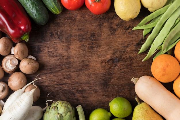 Cadre Alimentaire Circulaire Vue De Dessus Avec Des Légumes Photo gratuit