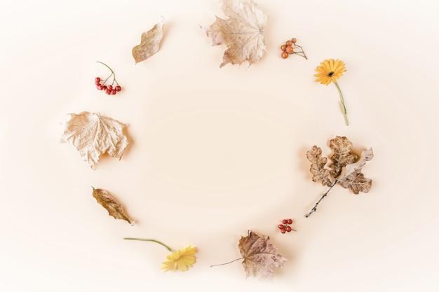 Cadre D'automne. Composition De Feuilles Et De Fleurs D'automne Sèches Jaunes Photo Premium