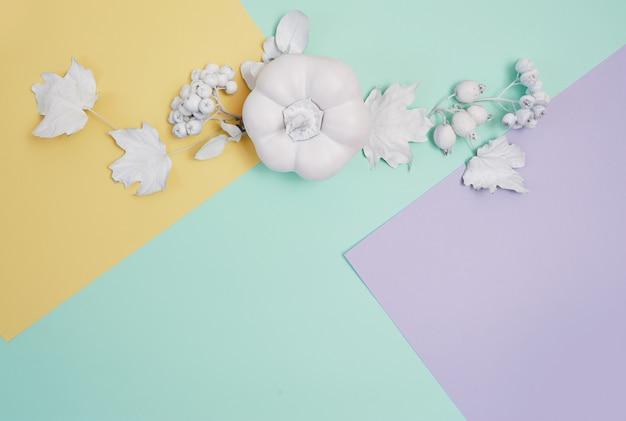 Cadre blanc avec citrouille, baies et feuilles sur un pastel multicolore Photo Premium