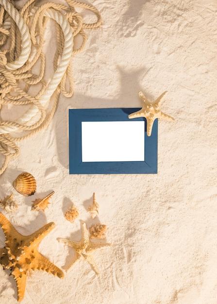 Cadre bleu avec des habitants de la mer sur le sable Photo gratuit