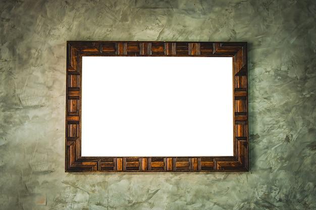 Cadre En Bois Avec Image Vierge Sur Mur Grunge Photo Premium