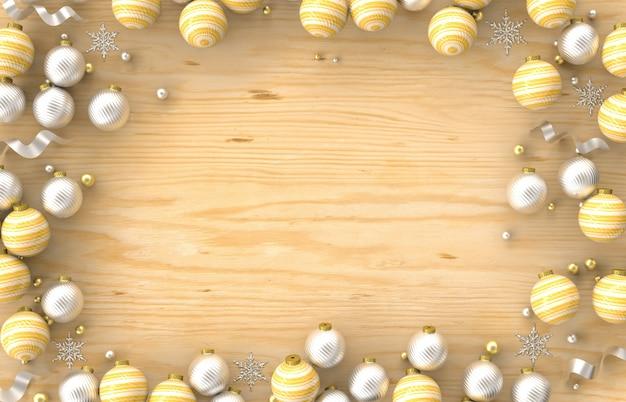 Cadre De Bordure De Décoration 3d De Noël Avec Boule De Noël, Flocon De Neige Sur Fond De Bois. Noël, Hiver, Nouvel An. Mise à Plat, Vue De Dessus, Fond. Photo Premium
